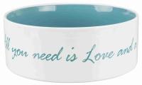 Keramiknapf - All you need is Love and a Pet creme/ petrol