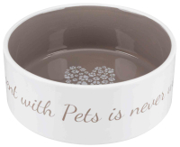 Keramiknapf - Time spent with Pets is never wasted creme/...